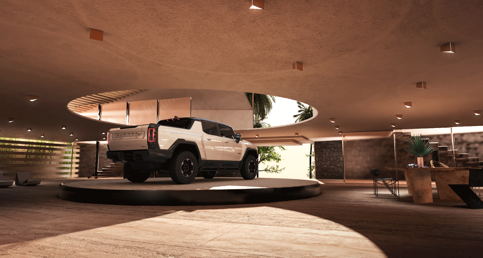 This Conceptual Home for the New All-Electric Hummer is the Future of Garages
